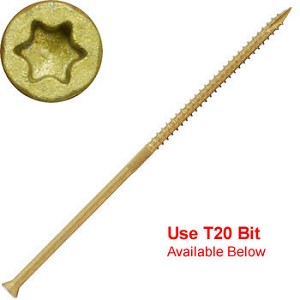 "(THBTX-09500-1)  9 x 5"" Bronze Star ACQ Compatible ""Star Drive""  Exterior Trim Head  ""Star Drive""  Screws - 1lb / 53pc Approx"