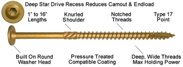 bronze star star drive wood screw