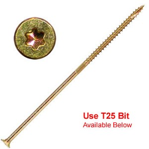 "10 X 5"" Gold Star Heavy Duty Multi Purpose ""Star Drive"" Wood Screws - 750 count"