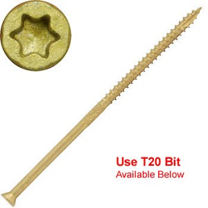 "(THBTX-09400)  9 x 4"" Bronze Star ACQ Compatible ""Star Drive""  Exterior Trim Head  ""Star Drive""  Screws - 1500 count"
