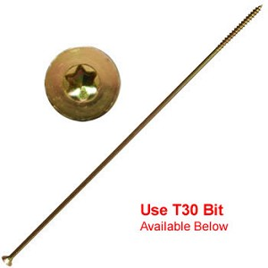 "(YTX-14500-1)  14 x 5"" Gold Star Extra Long Multi Purpose ""Star Drive"" Wood Screws - 1lb / 30 pc Approx"