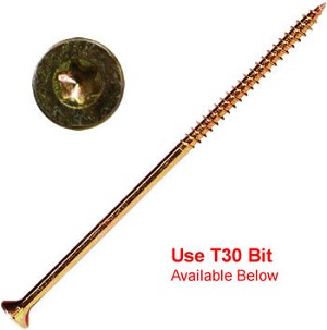 "(YTX-14600-1)  14 x 6"" Gold Star Extra Long Multi Purpose ""Star Drive"" Wood Screws - 1lb / 25 pc Approx"