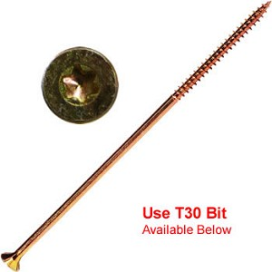 "(YTX-14800-1)  14 x 8"" Gold Star Extra Long Multi Purpose ""Star Drive"" Wood Screws - 1lb / 19 pc Approx"