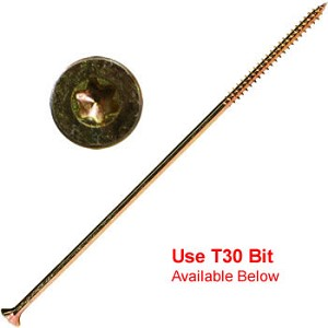 "(YTX-15100)  15 x 10"" Gold Star Extra Long Multi Purpose ""Star Drive"" Wood Screws - 250 count"