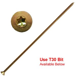 "(YTX-15120)  15 x 12"" Gold Star Extra Long Multi Purpose ""Star Drive"" Wood Screws - 250 per carton"