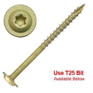 "(CTX-10212)  10 x 2-1/2"" Bronze Star ACQ Compatible ""Star Drive"" Cabinet Screws - 2000 count"